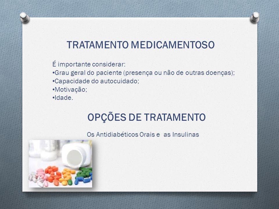 TRATAMENTO MEDICAMENTOSO É importante considerar: Grau geral do paciente (presença ou não de outras doenças); Capacidade do autocuidado; Motivação; Idade.