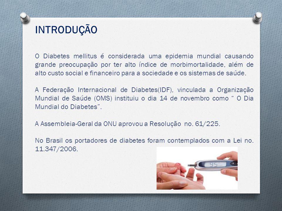 INTRODUÇÃO O Diabetes mellitus é considerada uma epidemia mundial causando grande preocupação por ter alto índice de morbimortalidade, além de alto custo social e financeiro para a sociedade e os sistemas de saúde.