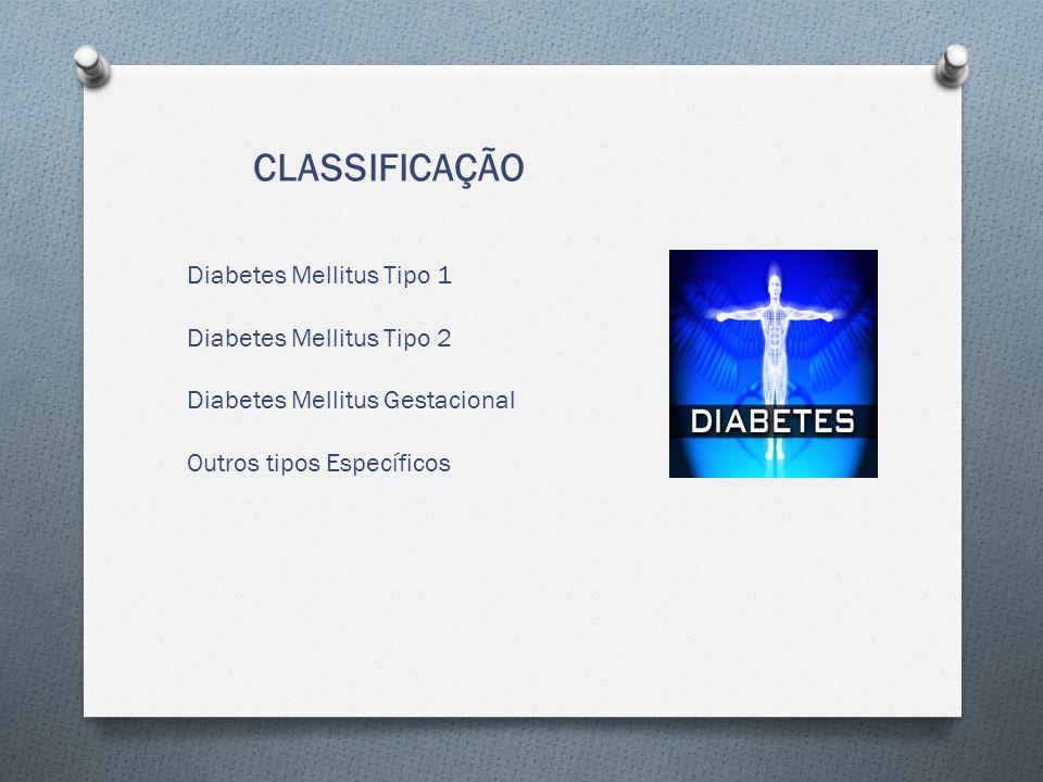 CLASSIFICAÇÃO Diabetes Mellitus Tipo 1 Diabetes Mellitus Tipo 2 Diabetes Mellitus Gestacional Outros tipos Específicos