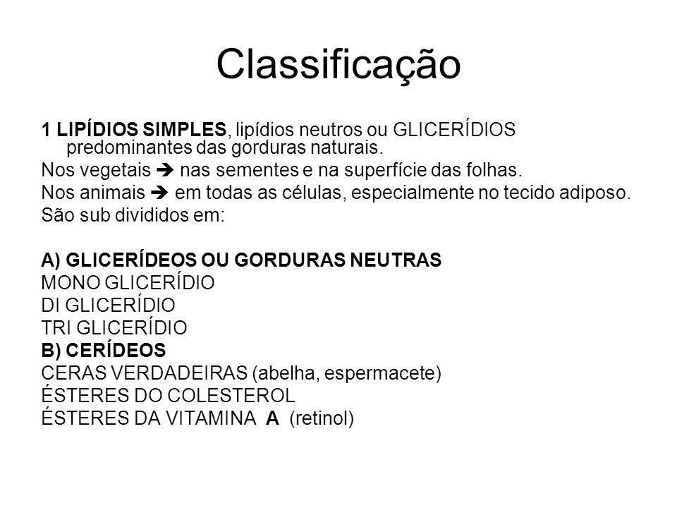 Classificação 1 LIPÍDIOS SIMPLES, lipídios neutros ou GLICERÍDIOS predominantes das gorduras naturais. Nos vegetais  nas sementes e na superfície das
