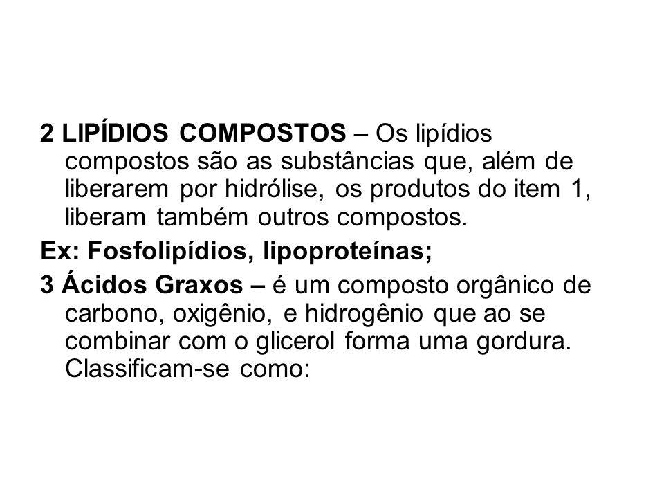 2 LIPÍDIOS COMPOSTOS – Os lipídios compostos são as substâncias que, além de liberarem por hidrólise, os produtos do item 1, liberam também outros com