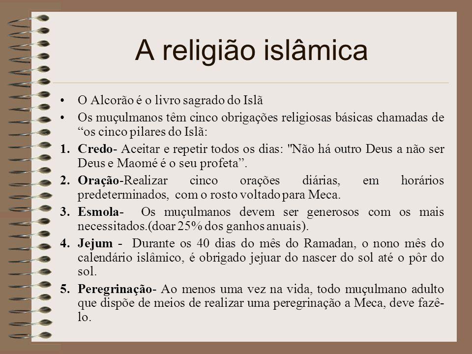 """A religião islâmica O Alcorão é o livro sagrado do Islã Os muçulmanos têm cinco obrigações religiosas básicas chamadas de """"os cinco pilares do Islã: 1"""