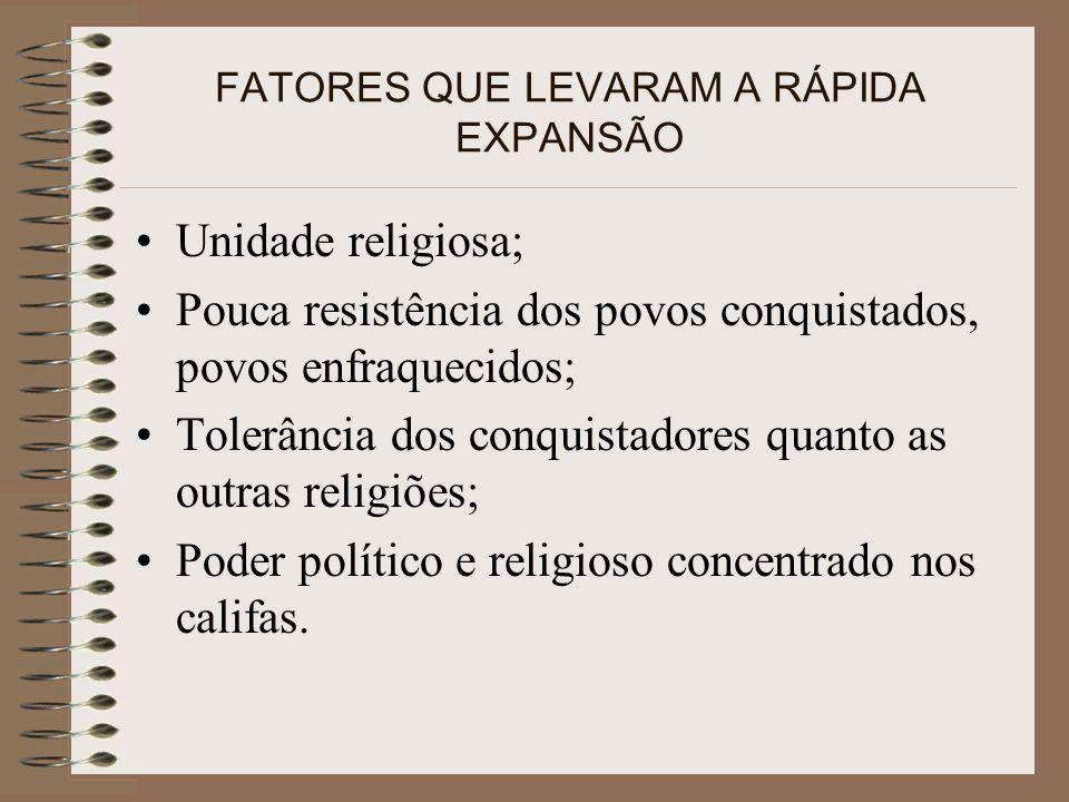 FATORES QUE LEVARAM A RÁPIDA EXPANSÃO Unidade religiosa; Pouca resistência dos povos conquistados, povos enfraquecidos; Tolerância dos conquistadores