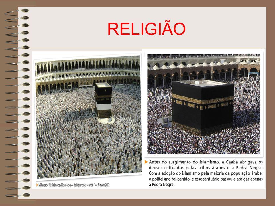 Caaba A Caaba, famoso templo instalado em Meca, local em que as tribos árabes mantinham os seus inúmeros ídolos (mais de 360).