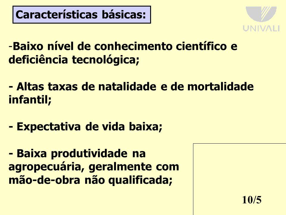 10/5 Características básicas: -Baixo nível de conhecimento científico e deficiência tecnológica; - Altas taxas de natalidade e de mortalidade infantil; - Expectativa de vida baixa; - Baixa produtividade na agropecuária, geralmente com mão-de-obra não qualificada;