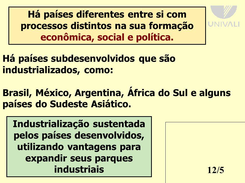 12/5 Há países diferentes entre si com processos distintos na sua formação econômica, social e política.