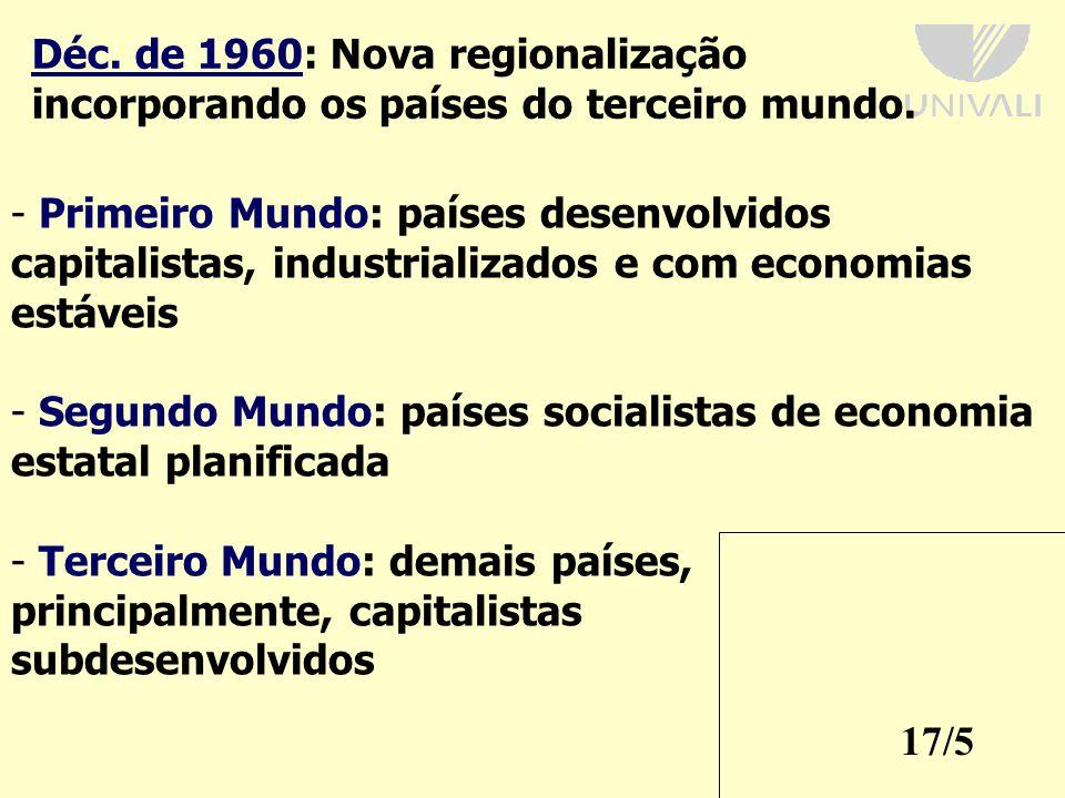 17/5 Déc.de 1960: Nova regionalização incorporando os países do terceiro mundo.