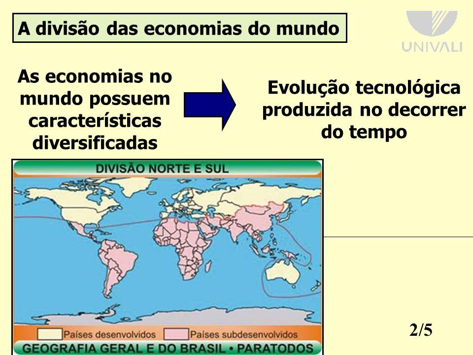 2/5 A divisão das economias do mundo As economias no mundo possuem características diversificadas Evolução tecnológica produzida no decorrer do tempo