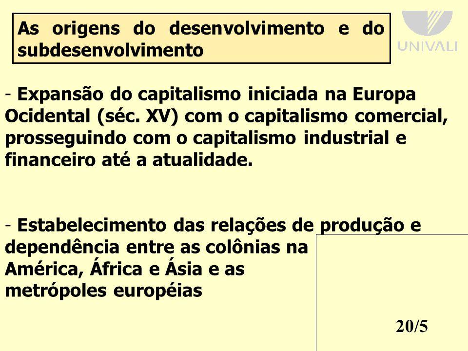 20/5 As origens do desenvolvimento e do subdesenvolvimento - Expansão do capitalismo iniciada na Europa Ocidental (séc.