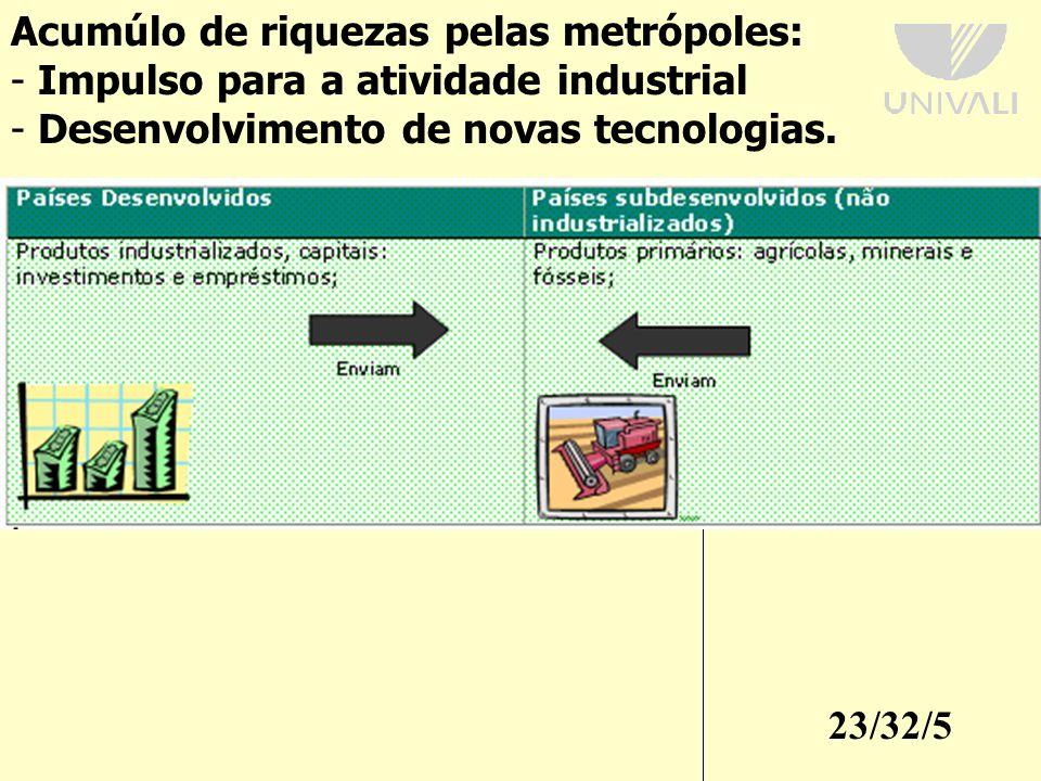 23/32/5 Acumúlo de riquezas pelas metrópoles: - Impulso para a atividade industrial - Desenvolvimento de novas tecnologias.