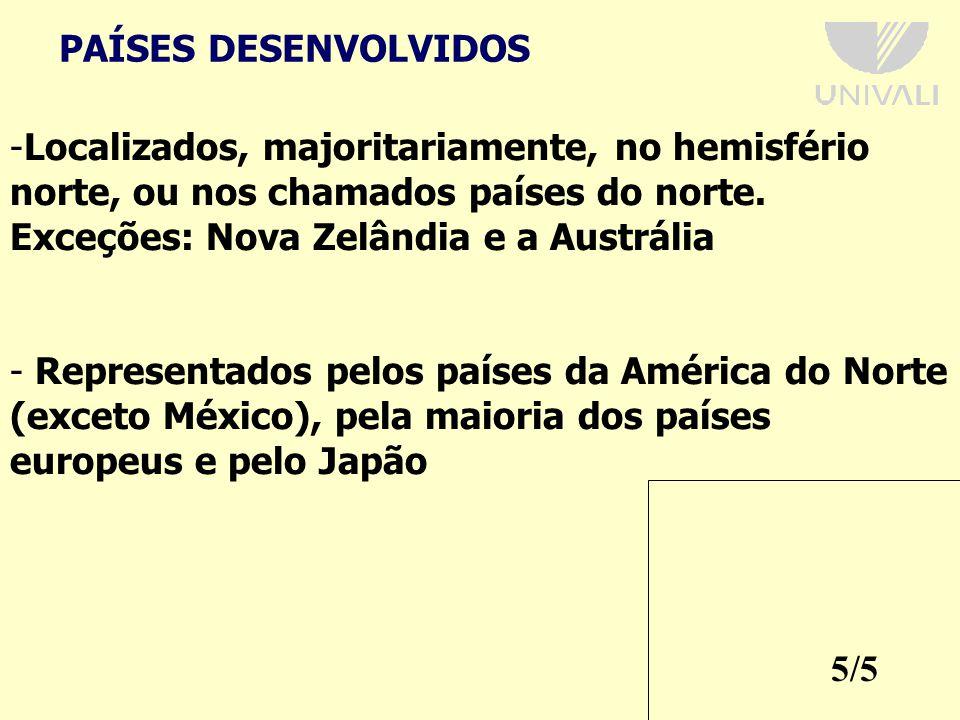 5/5 PAÍSES DESENVOLVIDOS -Localizados, majoritariamente, no hemisfério norte, ou nos chamados países do norte.