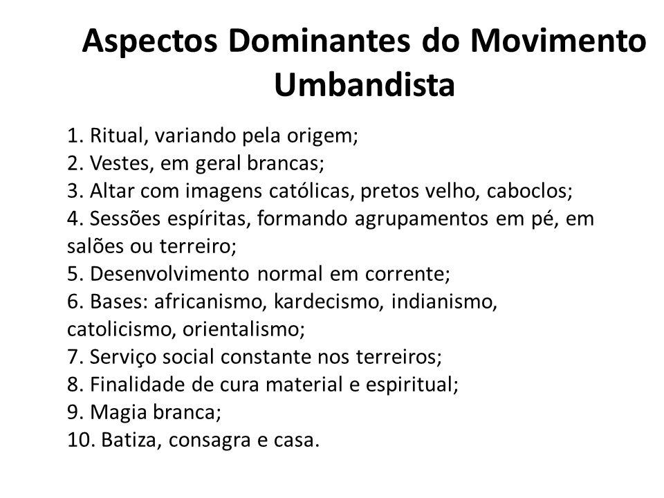 Aspectos Dominantes do Movimento Umbandista 1.Ritual, variando pela origem; 2.