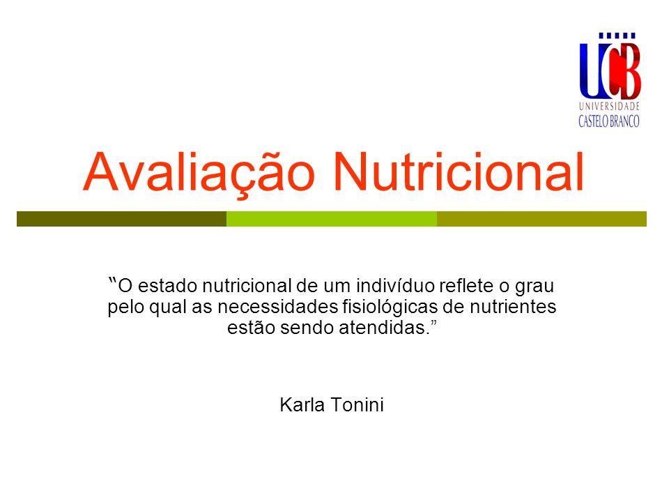 Avaliação Nutricional O estado nutricional de um indivíduo reflete o grau pelo qual as necessidades fisiológicas de nutrientes estão sendo atendidas. Karla Tonini