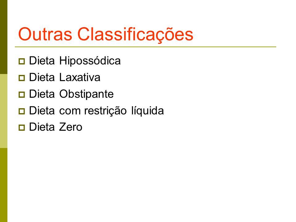 Outras Classificações  Dieta Hipossódica  Dieta Laxativa  Dieta Obstipante  Dieta com restrição líquida  Dieta Zero