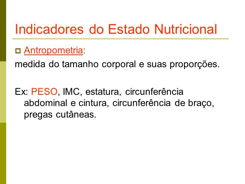 Indicadores do Estado Nutricional  Antropometria: medida do tamanho corporal e suas proporções.