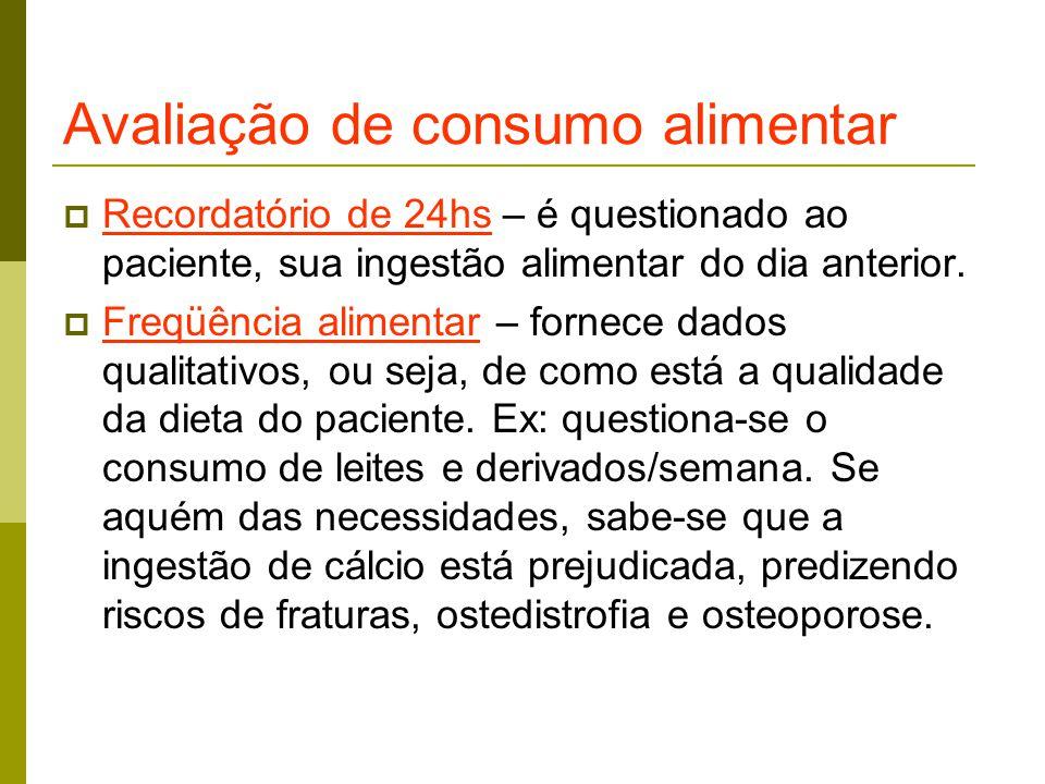 Avaliação de consumo alimentar  Recordatório de 24hs – é questionado ao paciente, sua ingestão alimentar do dia anterior.