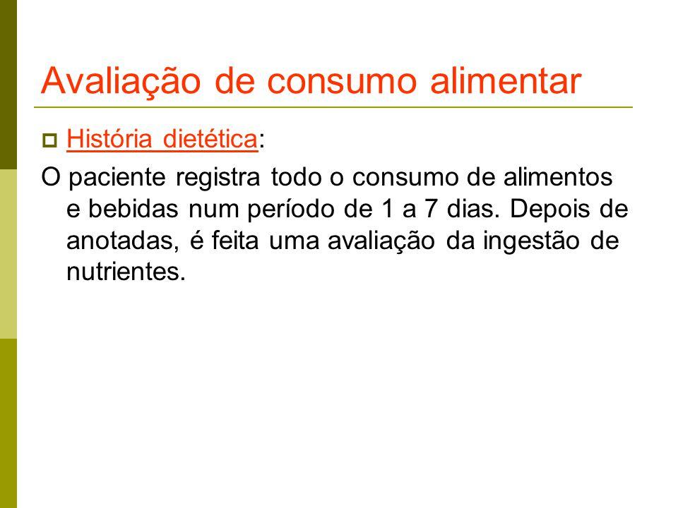 Avaliação de consumo alimentar  História dietética: O paciente registra todo o consumo de alimentos e bebidas num período de 1 a 7 dias.