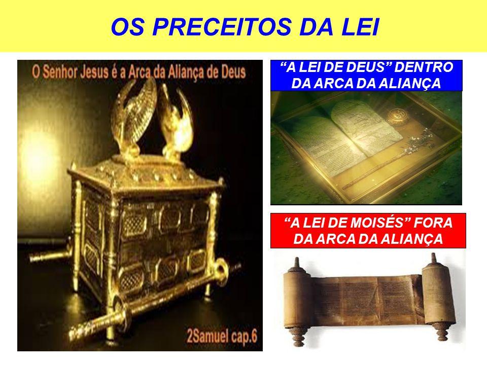 OS PRECEITOS DA LEI A LEI DE DEUS DENTRO DA ARCA DA ALIANÇA A LEI DE MOISÉS FORA DA ARCA DA ALIANÇA