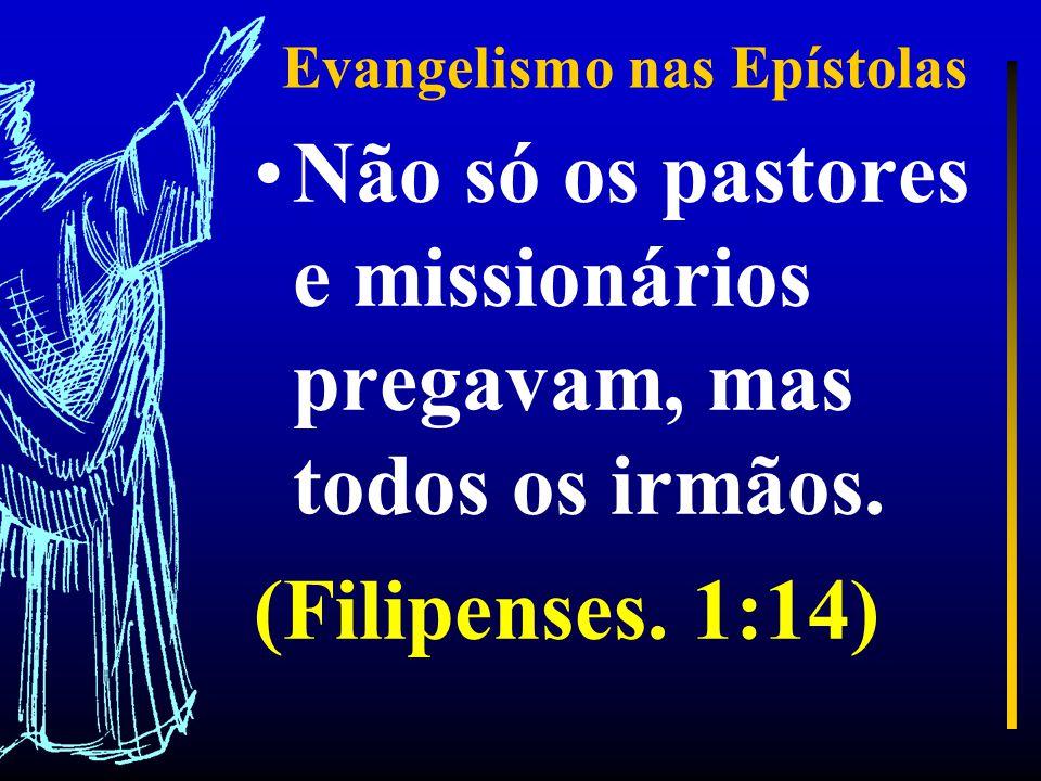 Evangelismo nas Epístolas Não só os pastores e missionários pregavam, mas todos os irmãos.