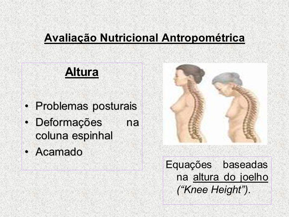 Avaliação Nutricional Antropométrica Altura Problemas posturaisProblemas posturais Deformações na coluna espinhalDeformações na coluna espinhal AcamadoAcamado Equações baseadas na altura do joelho ( Knee Height ).
