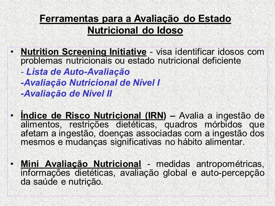 Ferramentas para a Avaliação do Estado Nutricional do Idoso Nutrition Screening Initiative - visa identificar idosos com problemas nutricionais ou estado nutricional deficiente - Lista de Auto-Avaliação -Avaliação Nutricional de Nível I -Avaliação de Nível II Índice de Risco Nutricional (IRN) – Avalia a ingestão de alimentos, restrições dietéticas, quadros mórbidos que afetam a ingestão, doenças associadas com a ingestão dos mesmos e mudanças significativas no hábito alimentar.