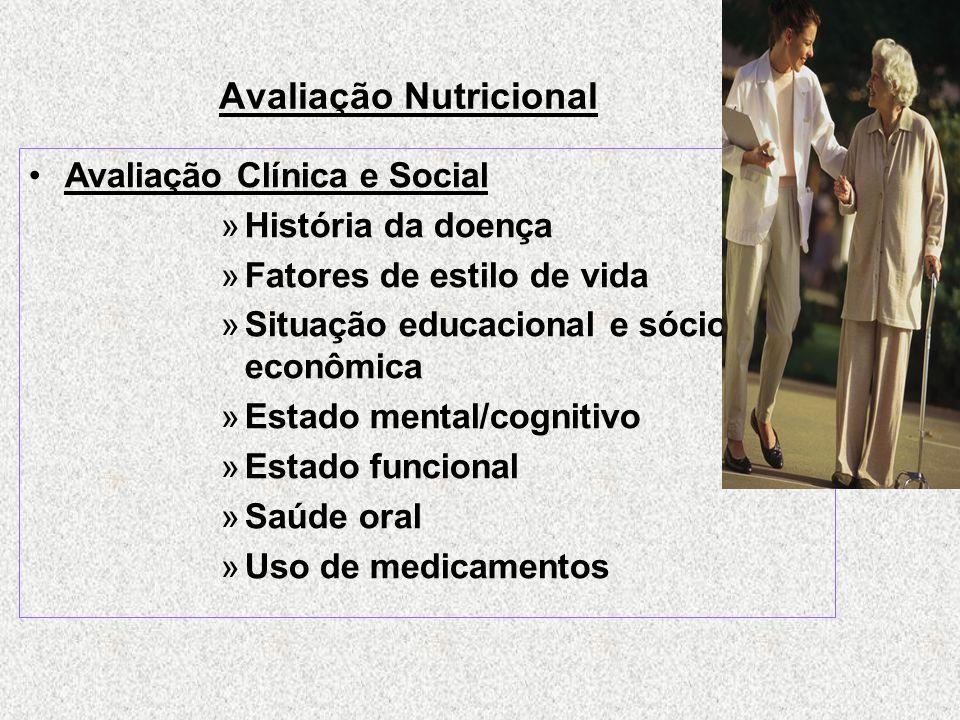 Avaliação Nutricional Avaliação Clínica e Social »História da doença »Fatores de estilo de vida »Situação educacional e sócio- econômica »Estado mental/cognitivo »Estado funcional »Saúde oral »Uso de medicamentos