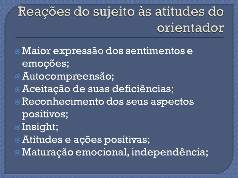  Maior expressão dos sentimentos e emoções;  Autocompreensão;  Aceitação de suas deficiências;  Reconhecimento dos seus aspectos positivos;  Insight;  Atitudes e ações positivas;  Maturação emocional, independência;