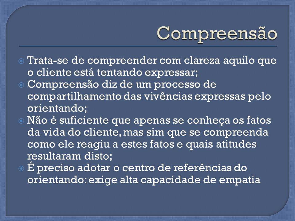  Trata-se de compreender com clareza aquilo que o cliente está tentando expressar;  Compreensão diz de um processo de compartilhamento das vivências