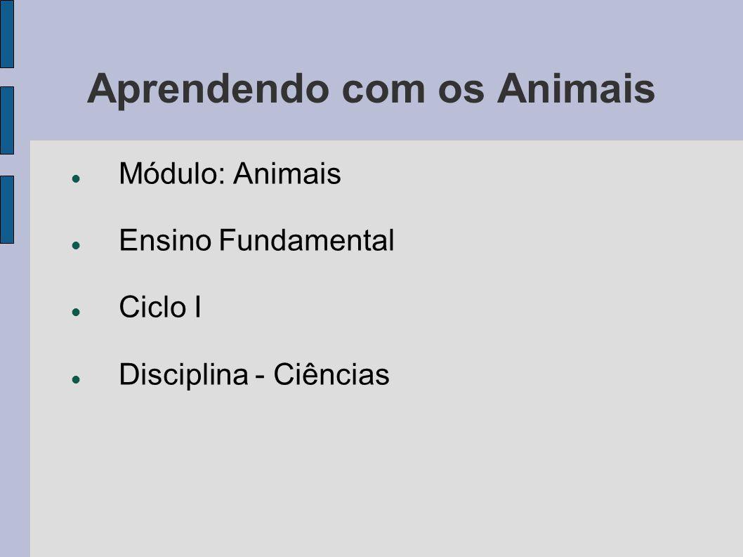 Aprendendo com os Animais Módulo: Animais Ensino Fundamental Ciclo I Disciplina - Ciências