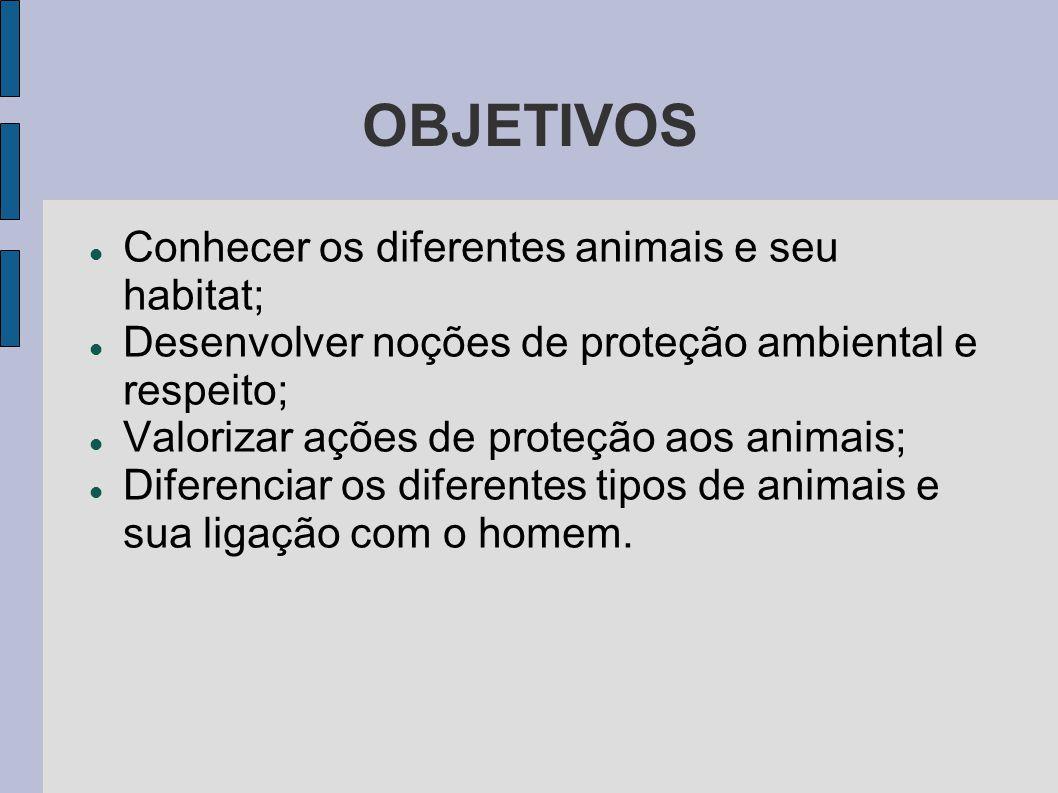 OBJETIVOS Conhecer os diferentes animais e seu habitat; Desenvolver noções de proteção ambiental e respeito; Valorizar ações de proteção aos animais;