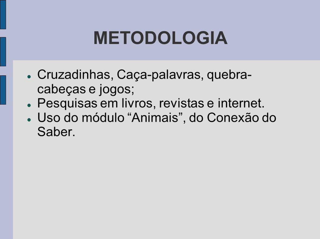 """METODOLOGIA Cruzadinhas, Caça-palavras, quebra- cabeças e jogos; Pesquisas em livros, revistas e internet. Uso do módulo """"Animais"""", do Conexão do Sabe"""