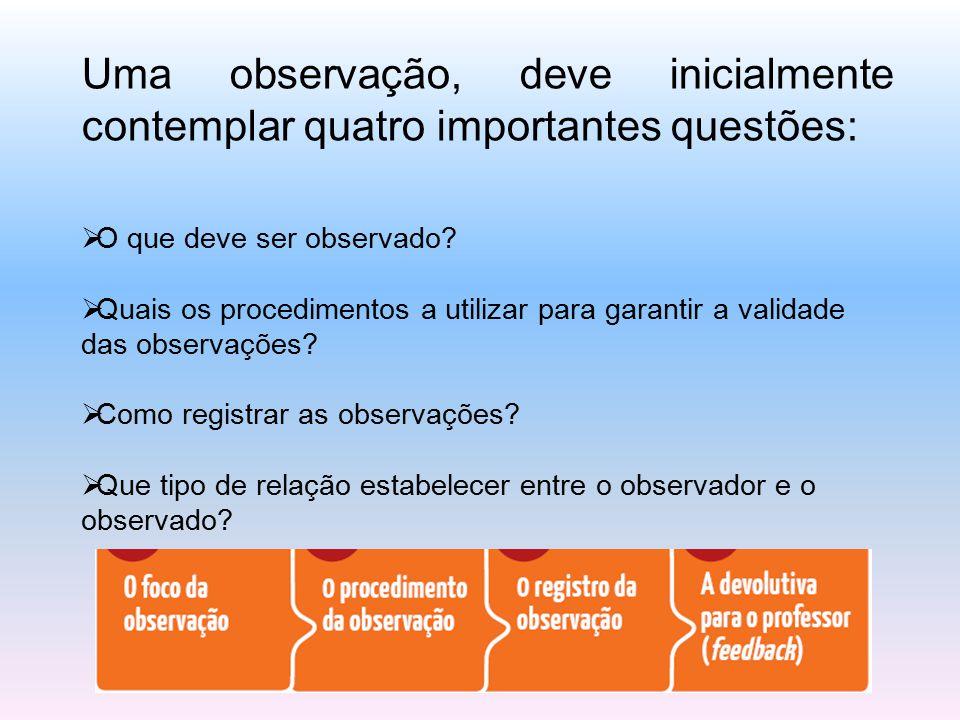 Uma observação, deve inicialmente contemplar quatro importantes questões:  O que deve ser observado?  Quais os procedimentos a utilizar para garanti