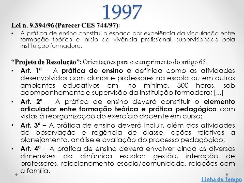 Lei n. 9.394/96 (Parecer CES 744/97) Lei n. 9.394/96 (Parecer CES 744/97): A prática de ensino constitui o espaço por excelência da vinculação entre f
