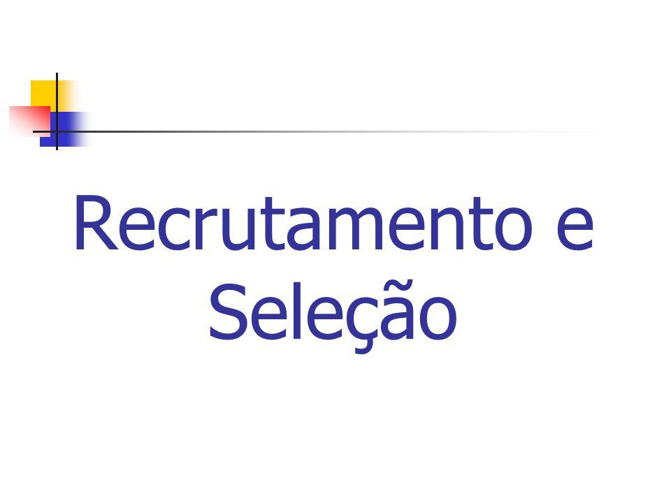 Recrutamento Conjunto de técnicas e procedimentos que visam atrair candidatos potencialmente qualificados, capazes de assumirem cargos dentro da organização.