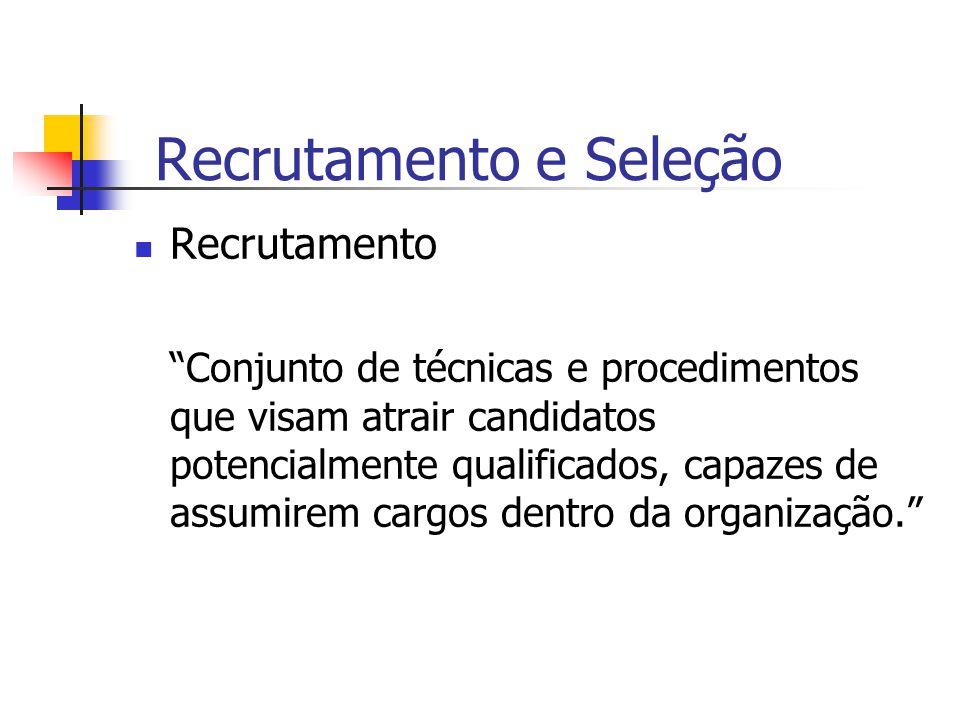 Recrutamento e Seleção Meios de recrutamento Interno X Externo aproveitamento do potencial humano existente na própria organização X preenchimento de posições cujas especificações não podem ser satisfeitas pelo pessoal existente na empresa