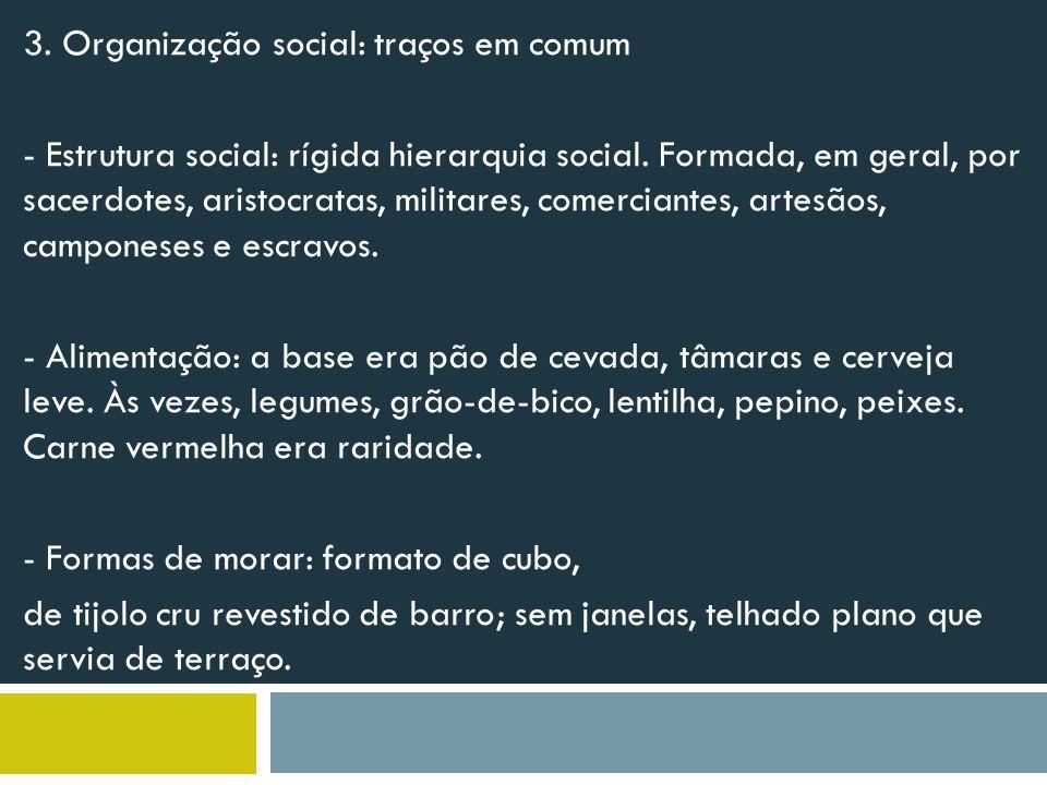 3.Organização social: traços em comum - Estrutura social: rígida hierarquia social.