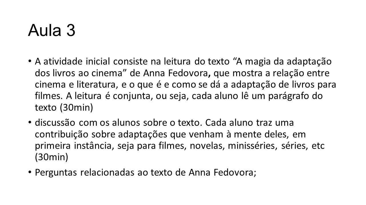 Aula 3 A atividade inicial consiste na leitura do texto A magia da adaptação dos livros ao cinema de Anna Fedovora, que mostra a relação entre cinema e literatura, e o que é e como se dá a adaptação de livros para filmes.