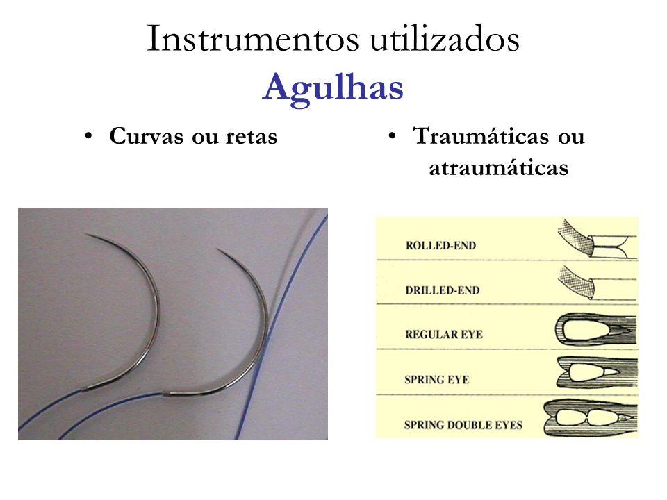 Instrumentos utilizados Agulhas Curvas ou retasTraumáticas ou atraumáticas