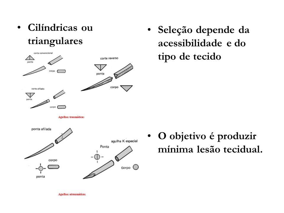 Cilíndricas ou triangulares Seleção depende da acessibilidade e do tipo de tecido O objetivo é produzir mínima lesão tecidual.