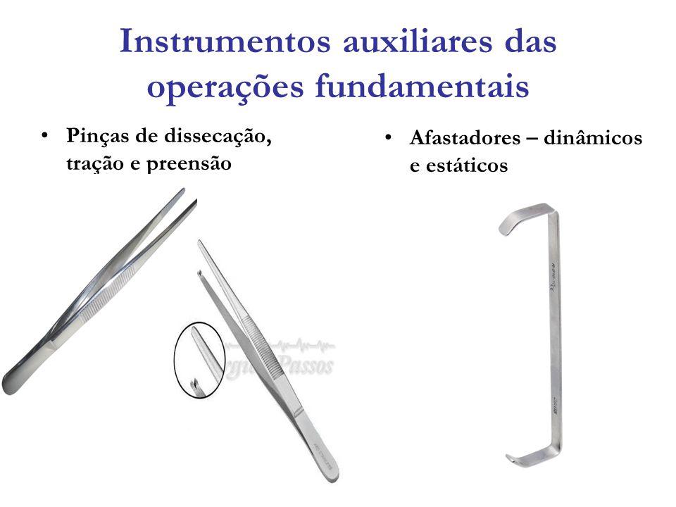 Instrumentos auxiliares das operações fundamentais Pinças de dissecação, tração e preensão Afastadores – dinâmicos e estáticos