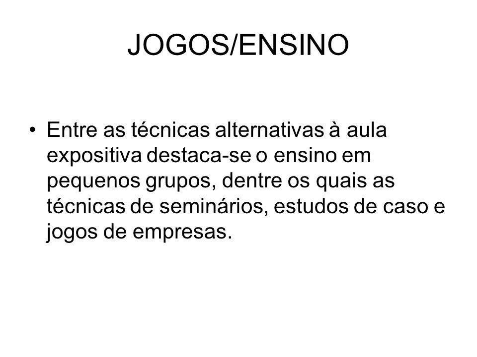 JOGOS/ENSINO Entre as técnicas alternativas à aula expositiva destaca-se o ensino em pequenos grupos, dentre os quais as técnicas de seminários, estudos de caso e jogos de empresas.