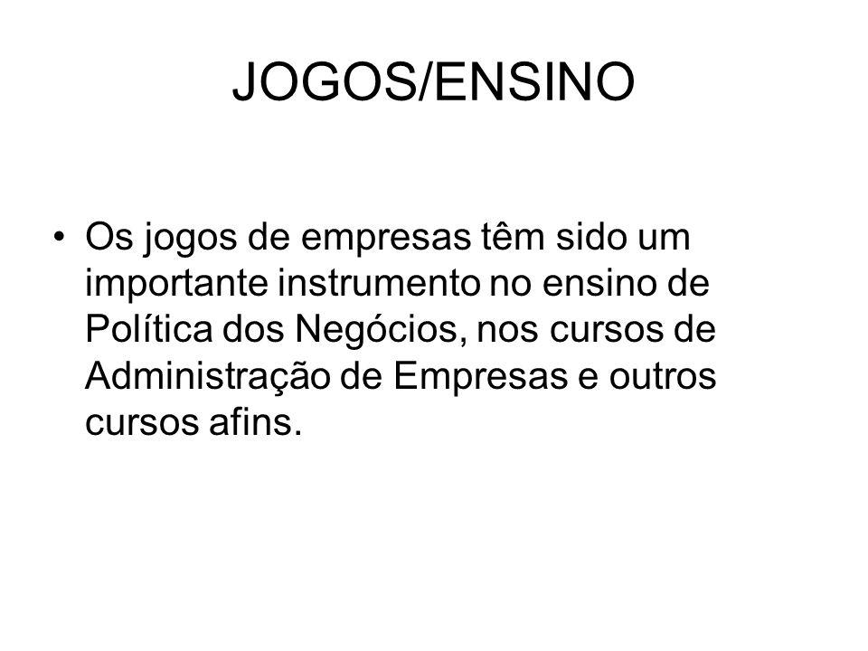 JOGOS/ENSINO Os jogos de empresas têm sido um importante instrumento no ensino de Política dos Negócios, nos cursos de Administração de Empresas e outros cursos afins.