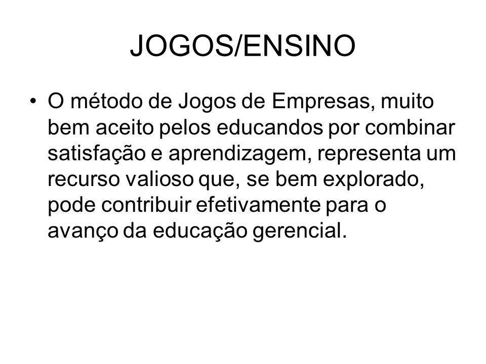 JOGOS/ENSINO O método de Jogos de Empresas, muito bem aceito pelos educandos por combinar satisfação e aprendizagem, representa um recurso valioso que, se bem explorado, pode contribuir efetivamente para o avanço da educação gerencial.