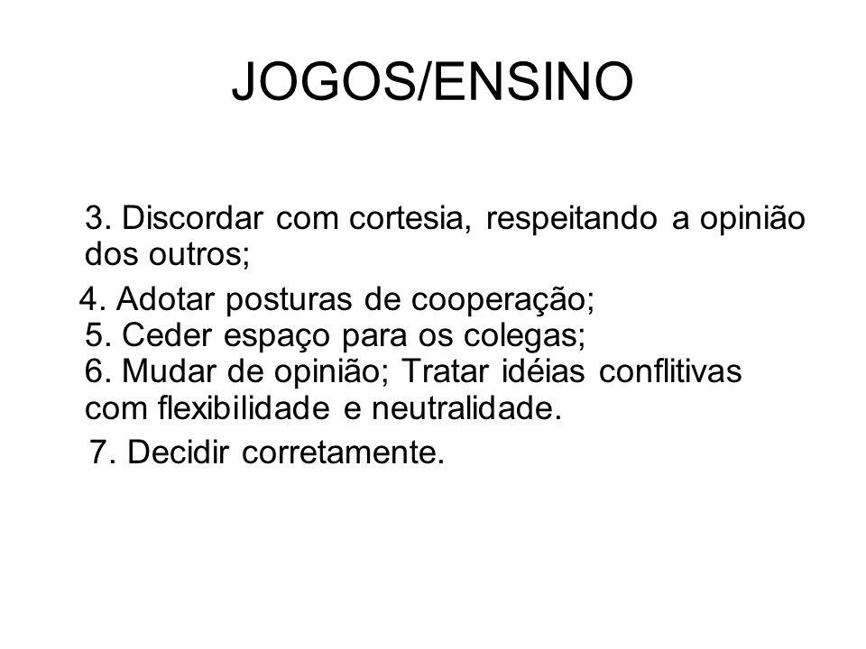 JOGOS/ENSINO 3.Discordar com cortesia, respeitando a opinião dos outros;  4.