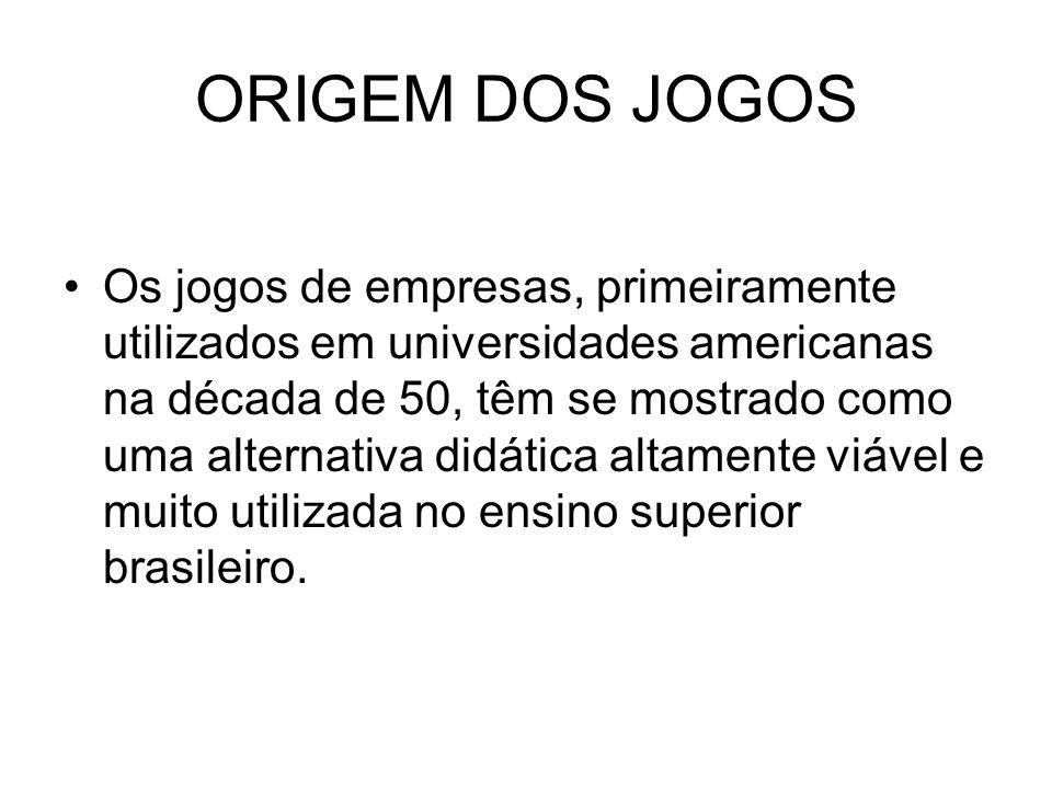 ORIGEM DOS JOGOS Os jogos de empresas, primeiramente utilizados em universidades americanas na década de 50, têm se mostrado como uma alternativa didática altamente viável e muito utilizada no ensino superior brasileiro.