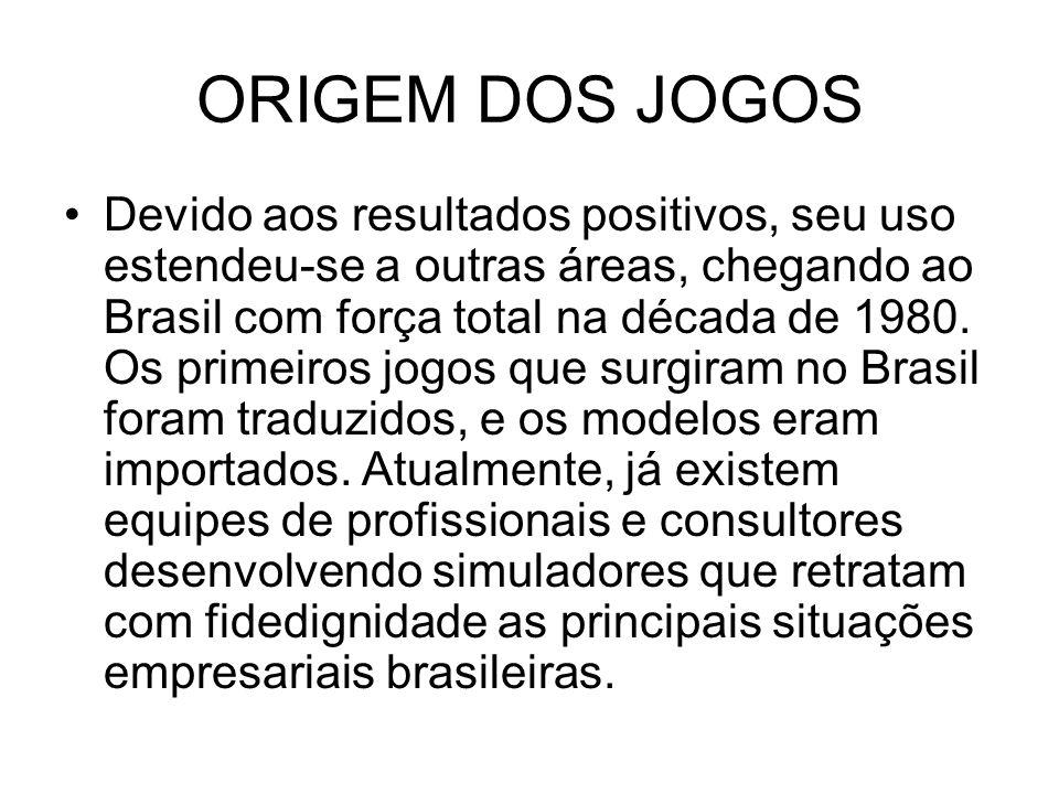 ORIGEM DOS JOGOS Devido aos resultados positivos, seu uso estendeu-se a outras áreas, chegando ao Brasil com força total na década de 1980.