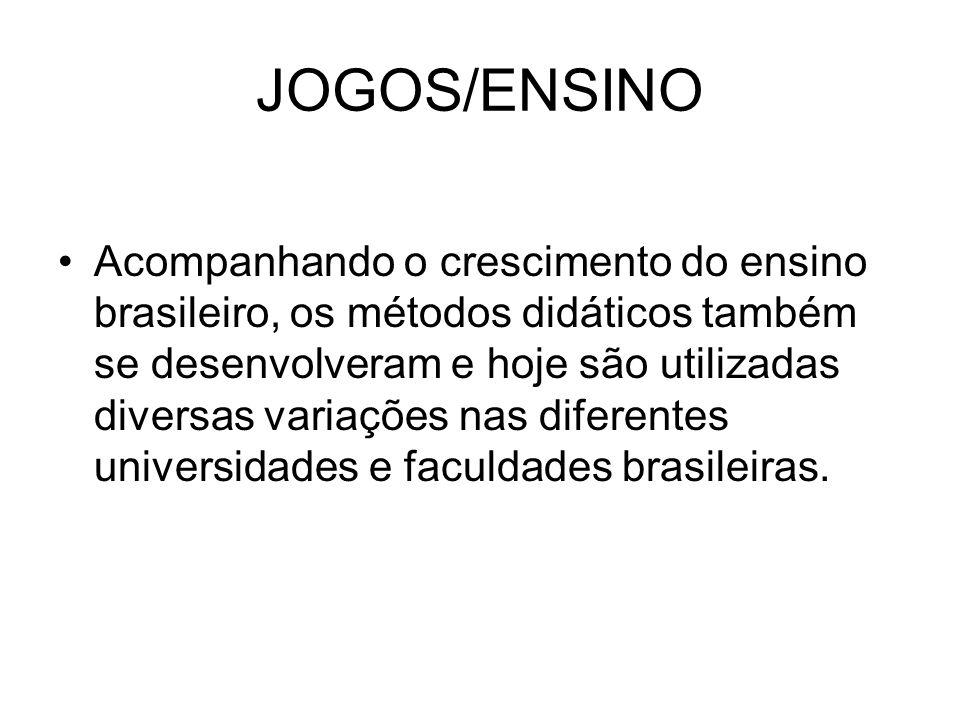 JOGOS/ENSINO Acompanhando o crescimento do ensino brasileiro, os métodos didáticos também se desenvolveram e hoje são utilizadas diversas variações nas diferentes universidades e faculdades brasileiras.