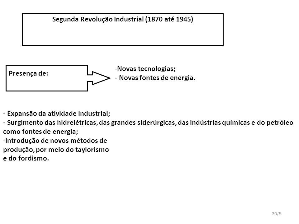 20/5 Segunda Revolução Industrial (1870 até 1945) Presença de: -Novas tecnologias; - Novas fontes de energia.