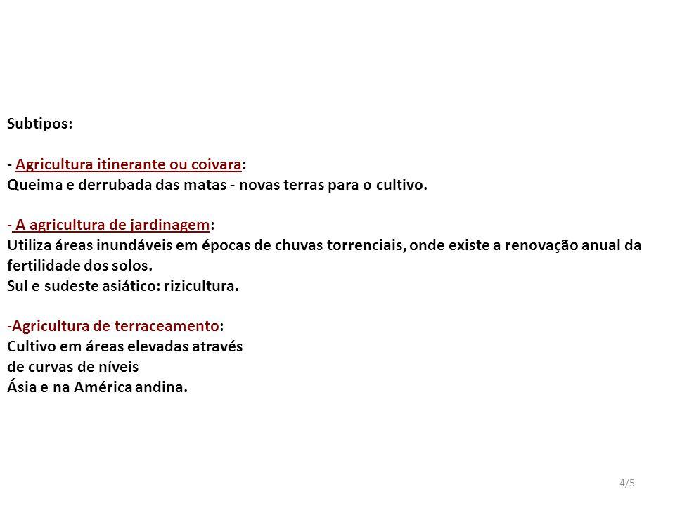 4/5 Subtipos: - Agricultura itinerante ou coivara: Queima e derrubada das matas - novas terras para o cultivo.