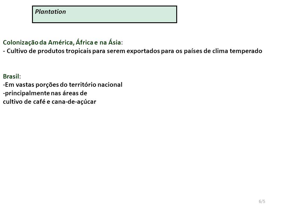 6/5 Colonização da América, África e na Ásia: - Cultivo de produtos tropicais para serem exportados para os países de clima temperado Brasil: -Em vastas porções do território nacional -principalmente nas áreas de cultivo de café e cana-de-açúcar Plantation